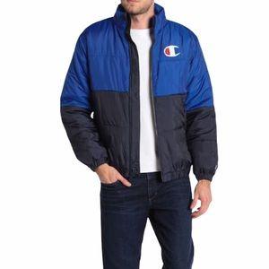 Champion Stadium Anorak Puffer Blue Jacket Size L